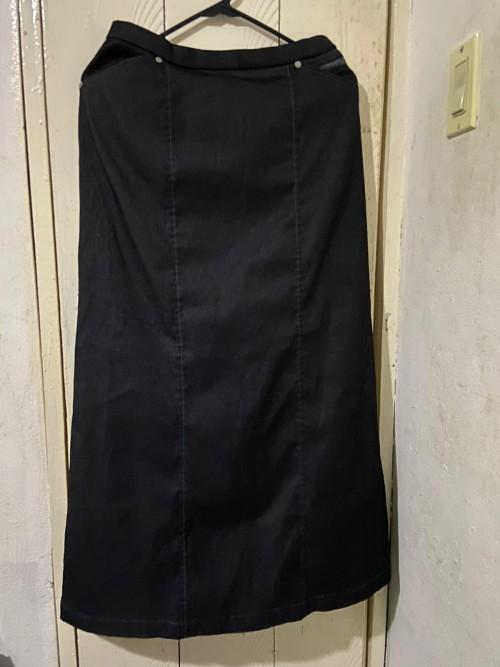 Black Long Jean Skirt, Size Medium