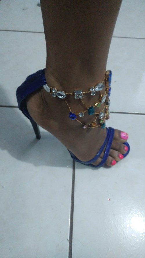 Blue Heels With Crystal Stones, Size 10
