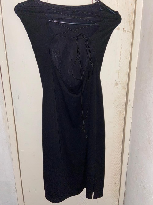 Black Dress With Cut-out Lace Up Back, Size Large