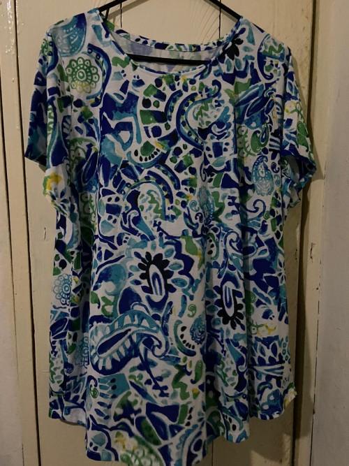Green Multicolor Blouse, Size 2X.