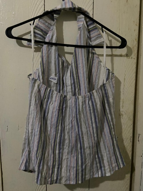 Multicolored Striped Cut-out Back Shirt Size Large
