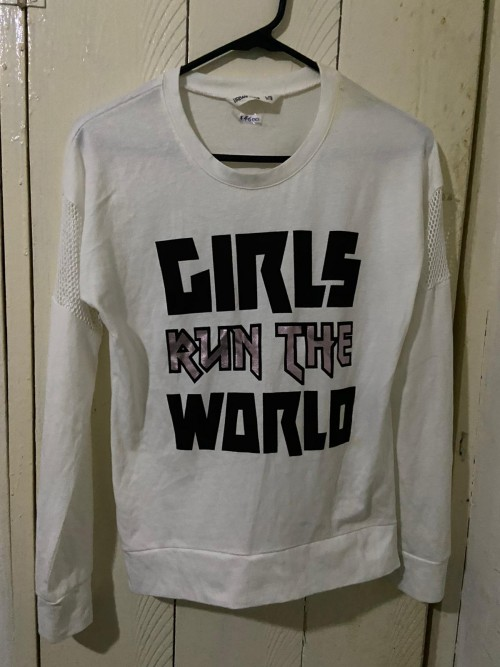 Girls Run The World White T-shirt, Size Large