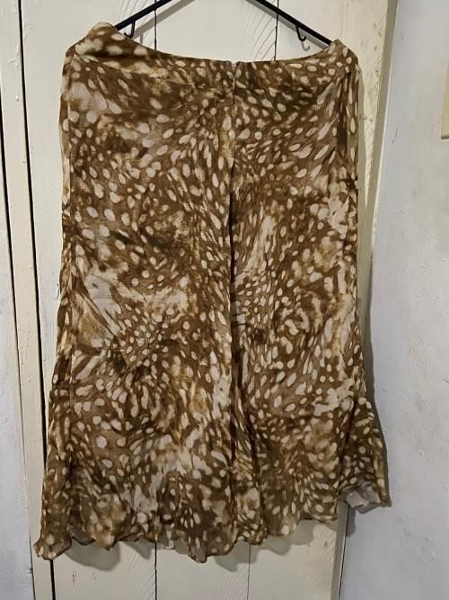 Brown Chiffon Animal Print Skirt, Size 8