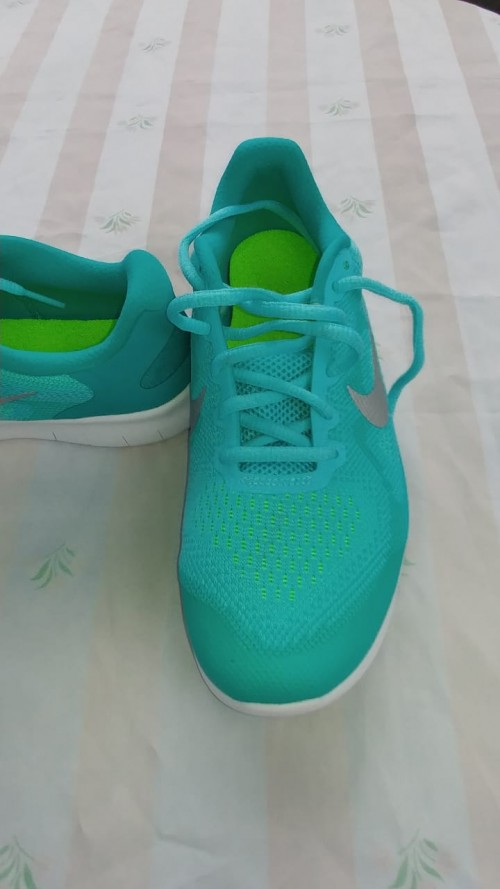 Blue And Green Nike Free RN Sneakers, 6 1/2