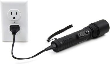 Rechargeable Tactical LED Flashlight, Black Stun G