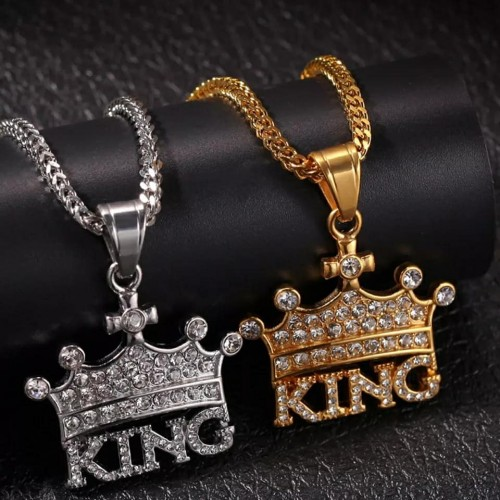 Crown KING Stainless Steel Rhinestone Necklace