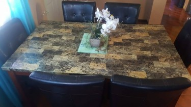 Fairly Used Marble Top 7pcs Dining Room Set