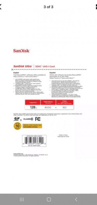 Sandisk Ultra SDXC 128GB