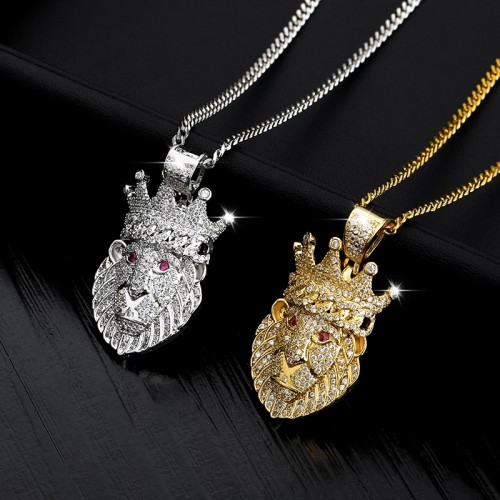 Icedout Stainless Steel Lion Pendant Necklace