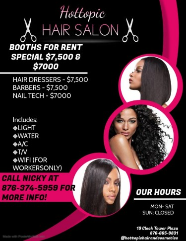 Hair Salon Space Or Booths For Rent
