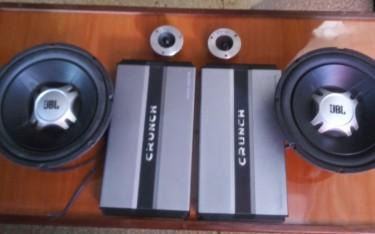 Two 3000 Watts Crunch Amps Two JBL 12'' Speaker