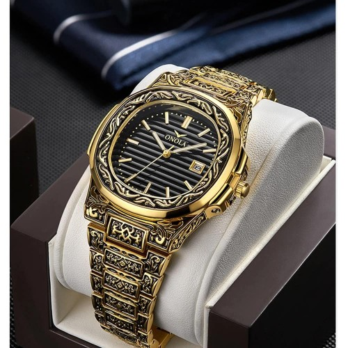 Luxury Retro Golden Stainless Steel Watch For Men