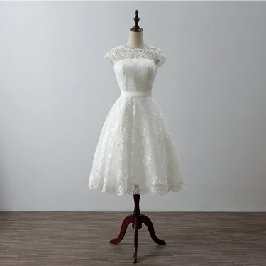 Knee Length Short Formal Wedding Bridal Gown