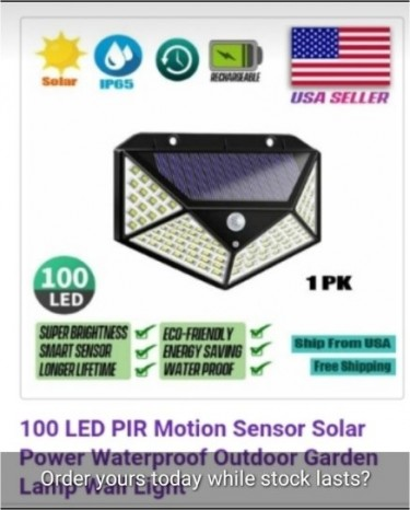 100 Bright LEDs Solar Wall Lamp For Sale!