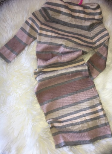 Slim Fit Stripe Tuck Neck Dress Size: Lrge