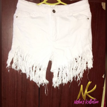 Ripped White Jeans Shorts For Sale Size Medium