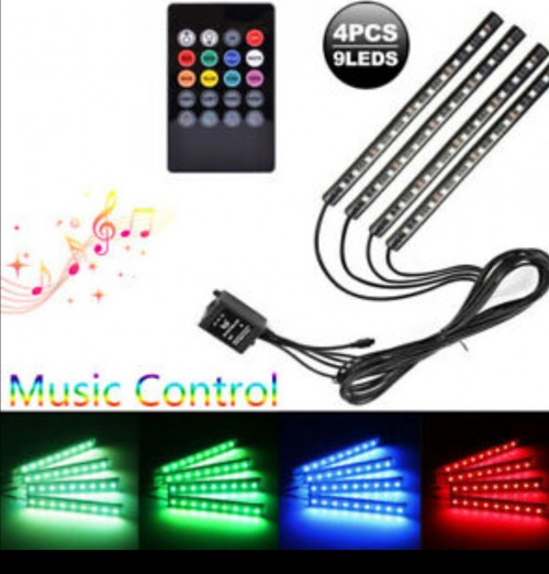 4 Rgb Led Car Neon Atmosphere Strip Light