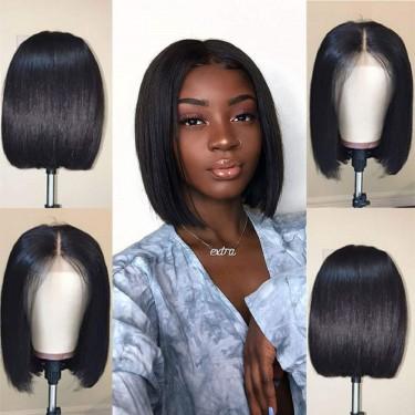 Short Straight Bob Wigs Human Hair Lace Front