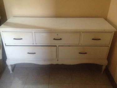 5 Drawer Long White Chest Of Drawers
