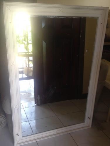 White Framed Mirror  (4ft X 2ft 7