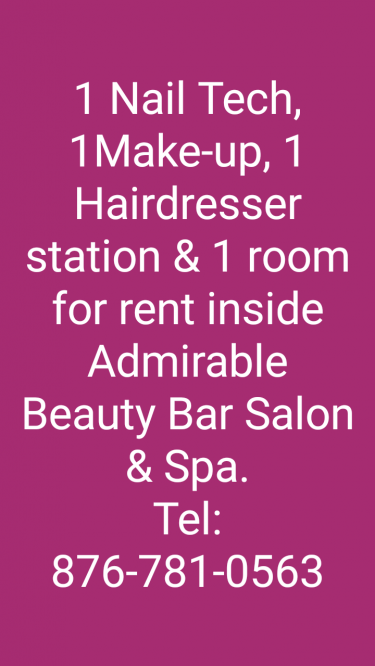 1 Hairdresser & 1 Nail Tech Station  & 1 Room