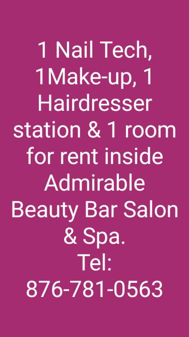 1 Hairdresser & 1 Nail Tech Station  & 1 Room