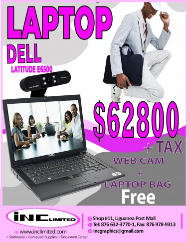 LAPTOP DELL E6500  + COMPUTER  BAG +WEB CAM