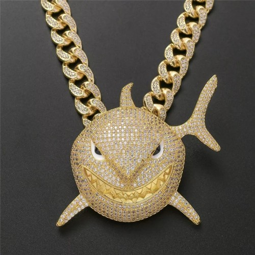 Iced Out Shark Pendant Necklace