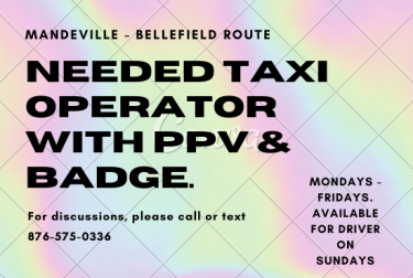Taxi Operator Mandeville To Bellefield PPV & Badge