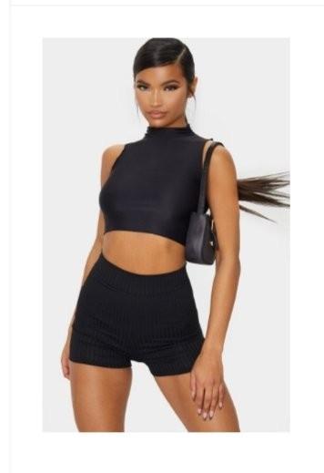 Black Ribbed Style Shorts