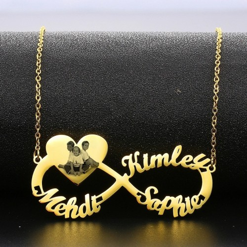 Infinity Name Necklace With Engraved Photo