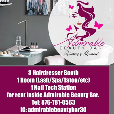3 Hairdresser & 1 Nail Tech Station For Rent