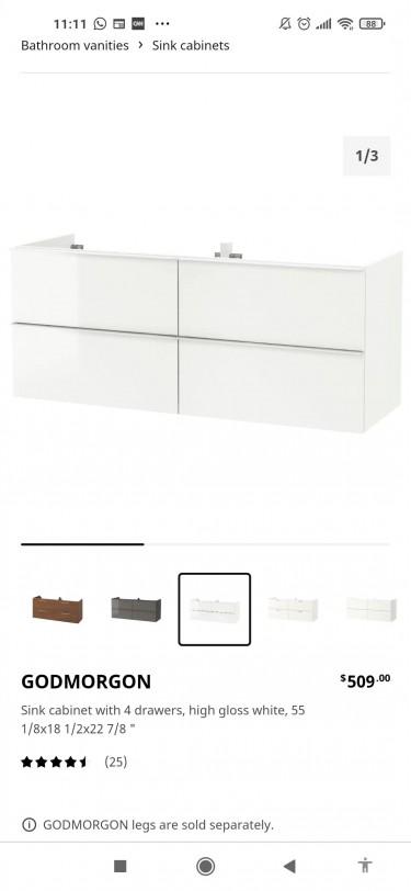 Under Sink IKEA Godmorgon Cabinet, White Glossy