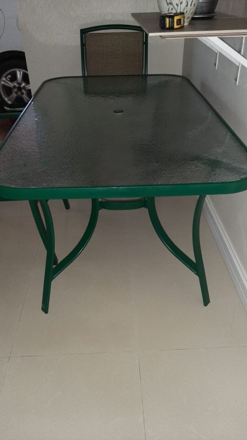Glass Top Outdoor Patio Table - 4 Seat