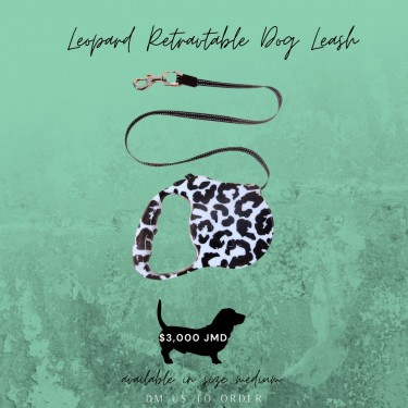Leopard Retractable Dog Leash