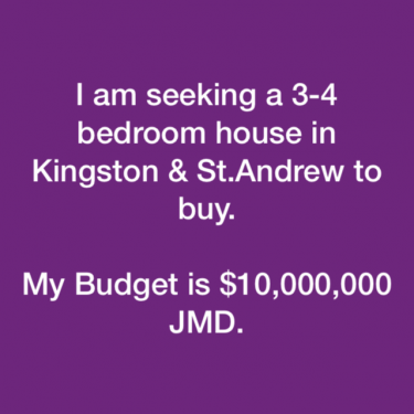 I'm Seeking A 4 Bedroom House In Kingston&St.Andrw