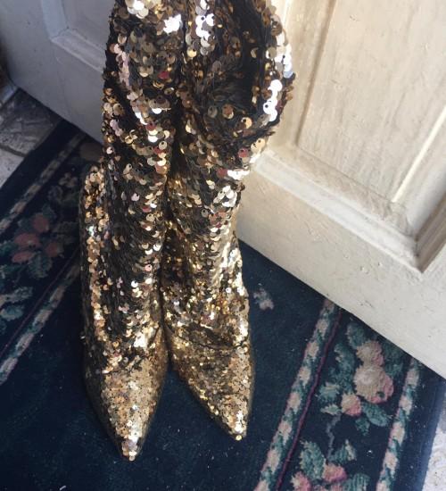 Gold High Heels Boots
