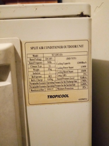 Tropicool 12000 BTU Air Conditioner Non-inverter