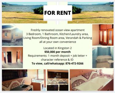 Freshly Renovated 3 Bedroom Ocean View Apartment