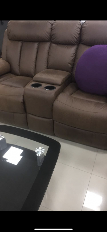 2 Piece Leather Reclining Couch Set