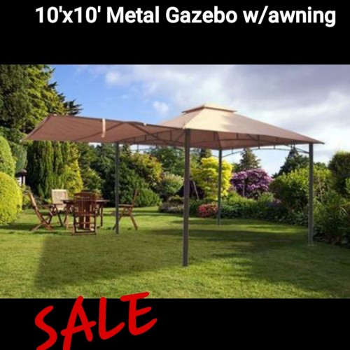 10'× 10' Metal  Gazebo W/awning