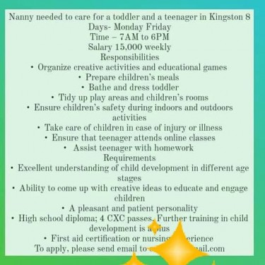 NANNY NEEDED SERIOUS PERSONS NOT AGENCY