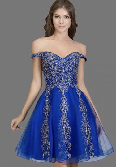ROYAL BLUE OFF SHOULDER SHORT PUFFY DRESS