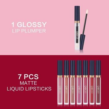 8pcs Matte Liquid Lipstick With Lip Plumper