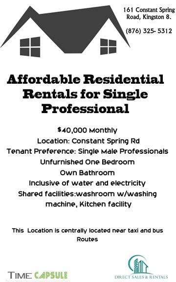 Unfurnished 1 Bedroom-Single Male Professionals
