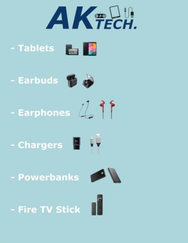 Tablets, Earphones, Earbuds, Chargers & Powerbank