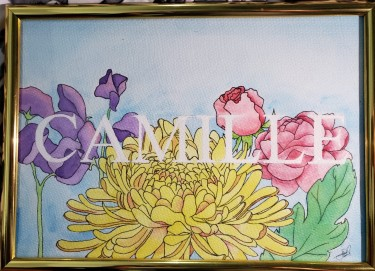 Customized Birth Flower Name Painting