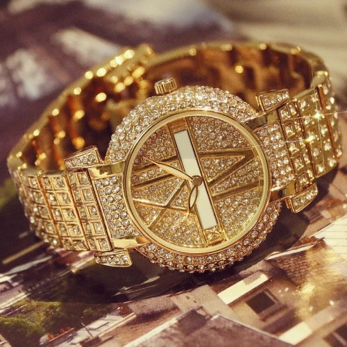 Stainless Steel Women's Iced Out Watch