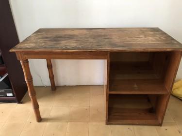 Sturdy Older Wooden Work Desk With Storage