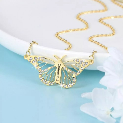 Butterfly Shaped Custom Name Necklace